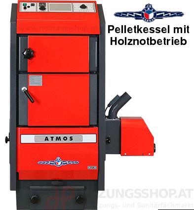 Atmos Pelletkessel mit Holznotbetrieb - Pelletzentralheizung