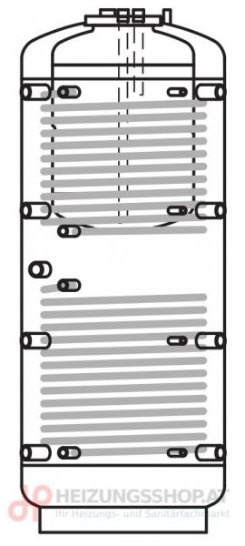 Kombispeicher PRO 2-Register inkl. Vliesisolierung