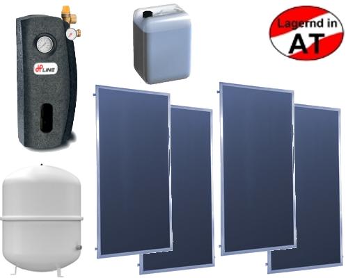 Solar-Komplettpaket mit Wannenkollektoren